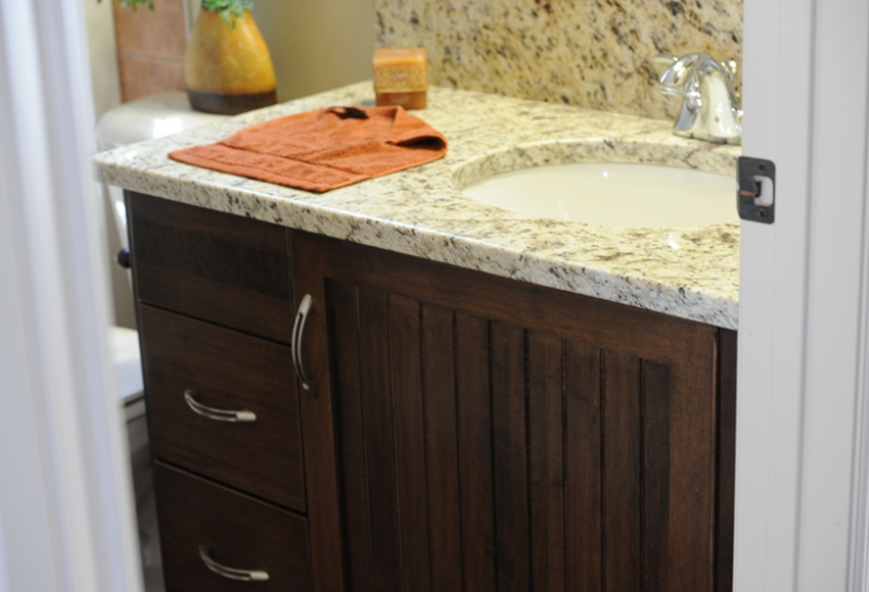 custom vanity cabinet and countertop